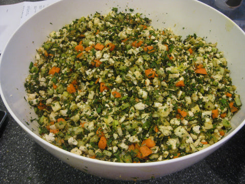 Freshly chopped vegetables for Savory Veggie Torshi (Liteh)