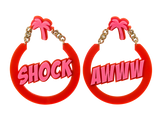Shock and Awww acrylic hoop earring