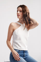 Sleeveless blouse with triangle neckline, open back, shoulder straps. Can be worn as a blouse or layering piece.