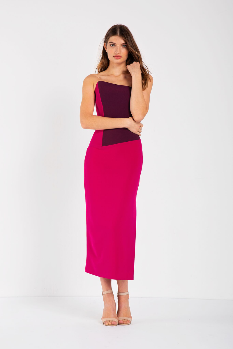 Fitted, strapless dress featuring fuchsia and plum colour blocking, asymmetrical (sloped) neckline, mid-length skirt. Fitted throughout with some stretch. Made in a woven stretch crepe fabric.
