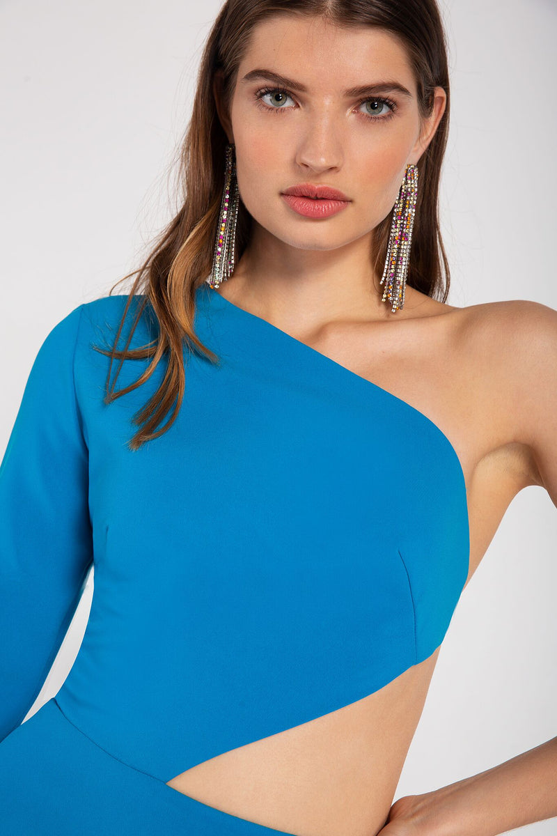 Turquoise minidress with a fitted, one-shoulder bodice, full length flared sleeve, cut-out detail along the waist with ties. Made in a woven stretch triacetate.