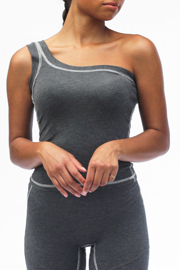 Comfy Asymmetric Tank in Charcoal