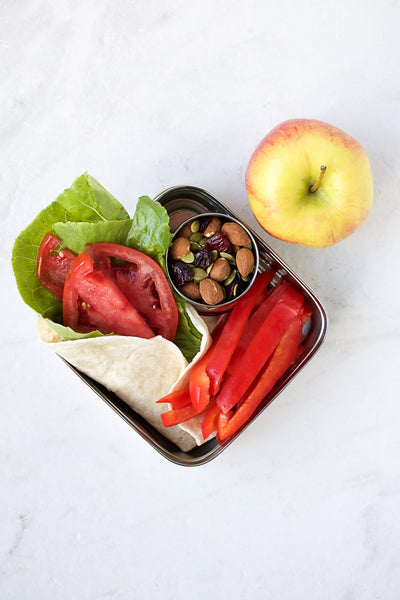 pita wrap and peppers in packed lunch