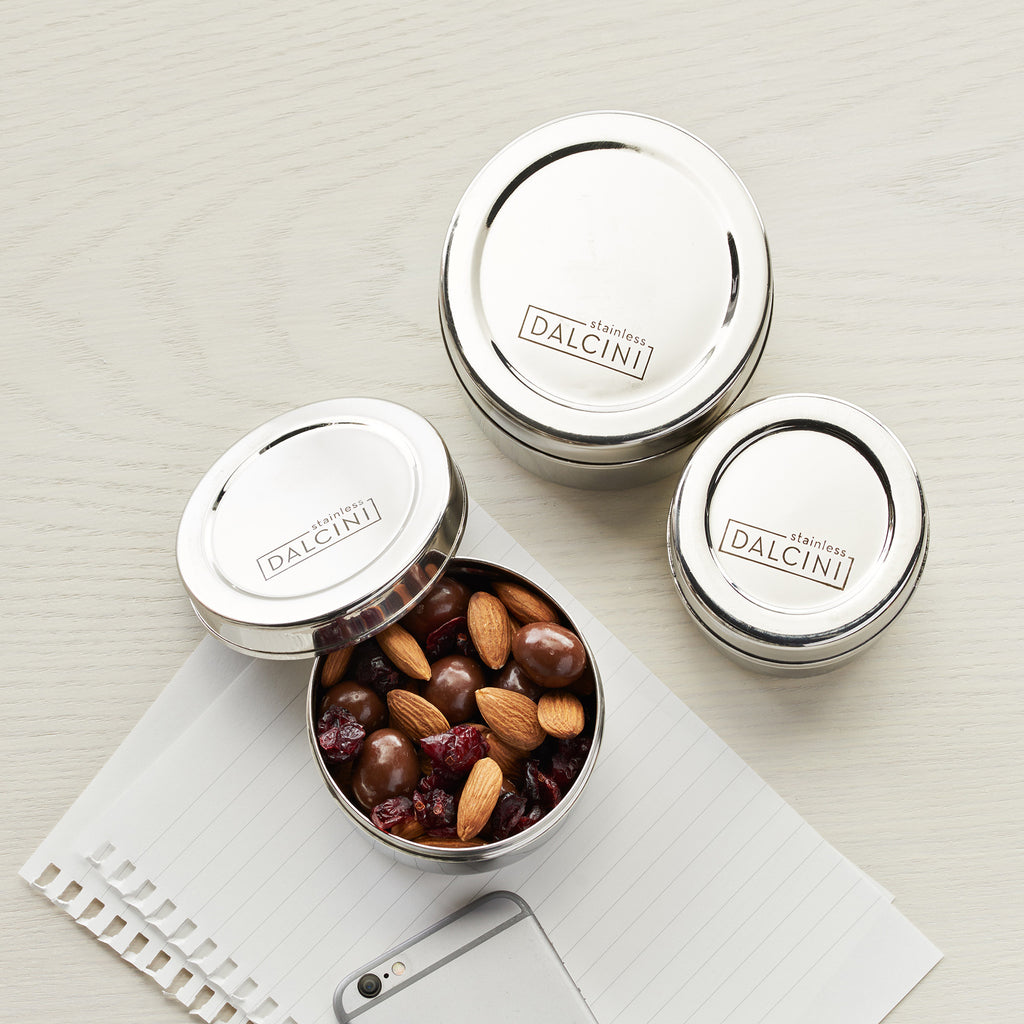 Set of 3 DALCINI™ Round Snack Containers - DALCINI Stainless