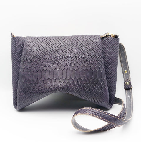 The Isa Bag. Grape Reptile Embossed/ Steel. Zipper/ Strap.