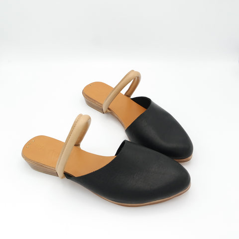 The Carmen.  Raider Black, Nude Heel Strap, Oregon Grey strap.