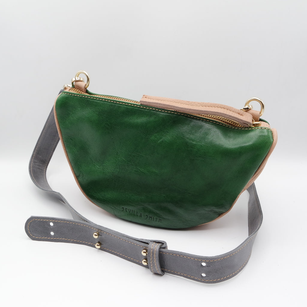 The Tangi Bag. Emerald/ Peony. #10
