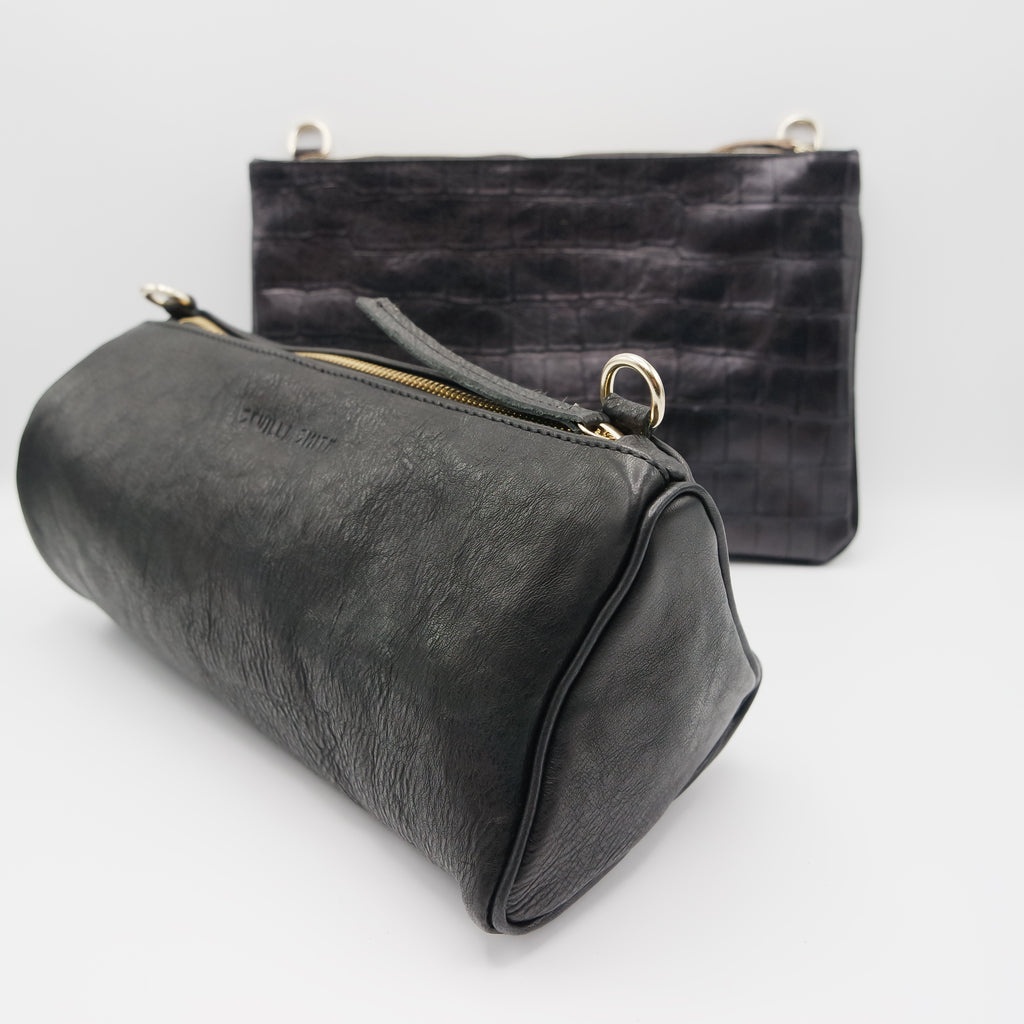 The Marissa Double Bag. Koniec Black / Croc Embossed