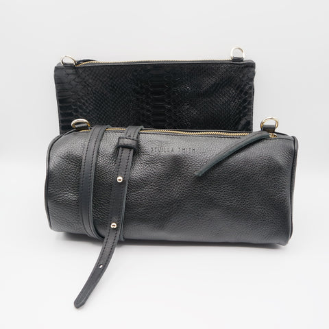 SALE: The Marissa Double Bag. Black Pebble Grain / Anaconda