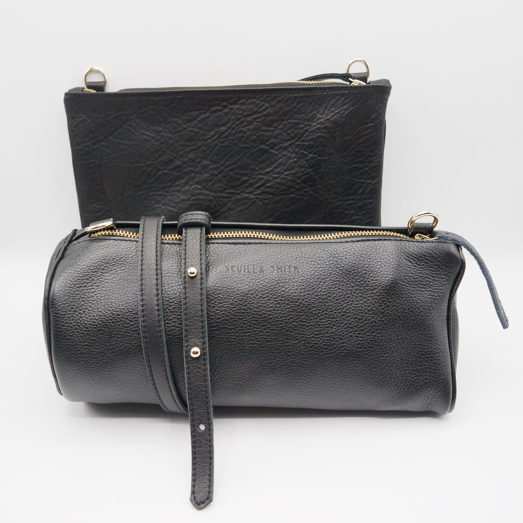 The Marissa Double Bag. Black Pebble Grain / Raider Black