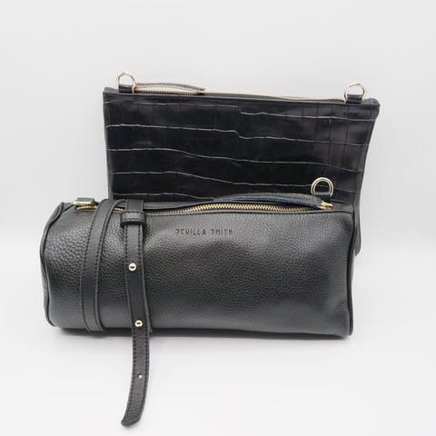 The Marissa Double Bag. Black Pebble Grain / Croc Embossed