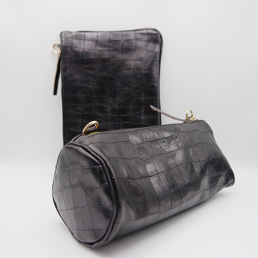 The Marissa Double Bag. Black Croc Embossed