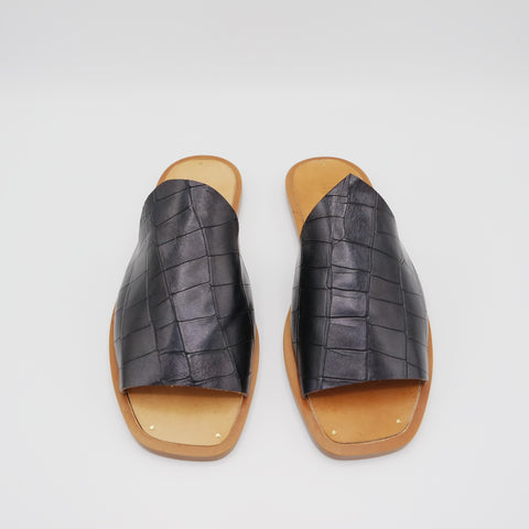 READY MADE: SIZE 37. The Amanda. Black Croc Embossed