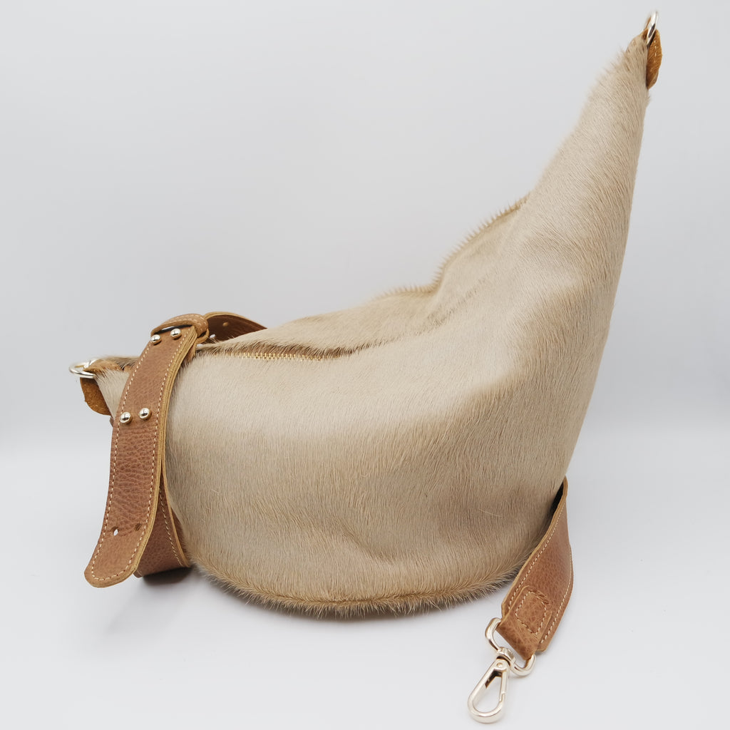 125 The Marisol Bag. Pale Camel Hair On and Powder Cuoio