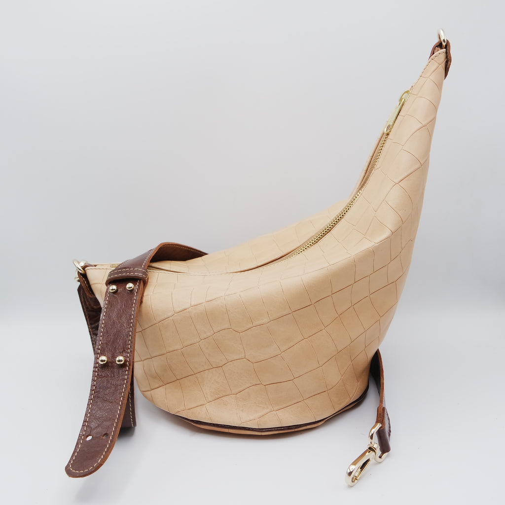 141 The Marisol Bag. Undyed Croc and Walnut Gloveskin
