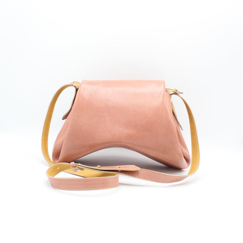 The Isa Bag. Large.  Smooth Guava/Powdery Spice. Zipper/ Strap