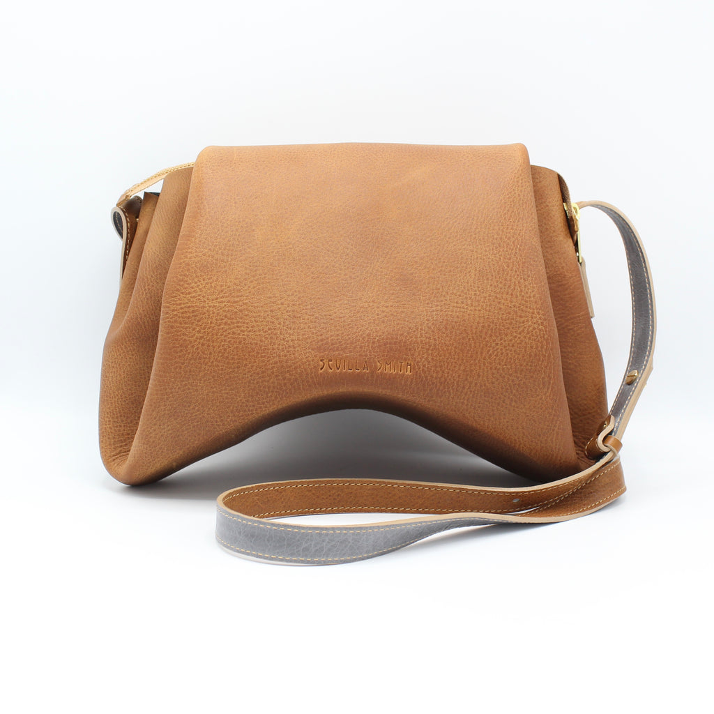 The Isa Bag. Large. Pebbled Cappuccino /Grey.  Zipper/Strap.