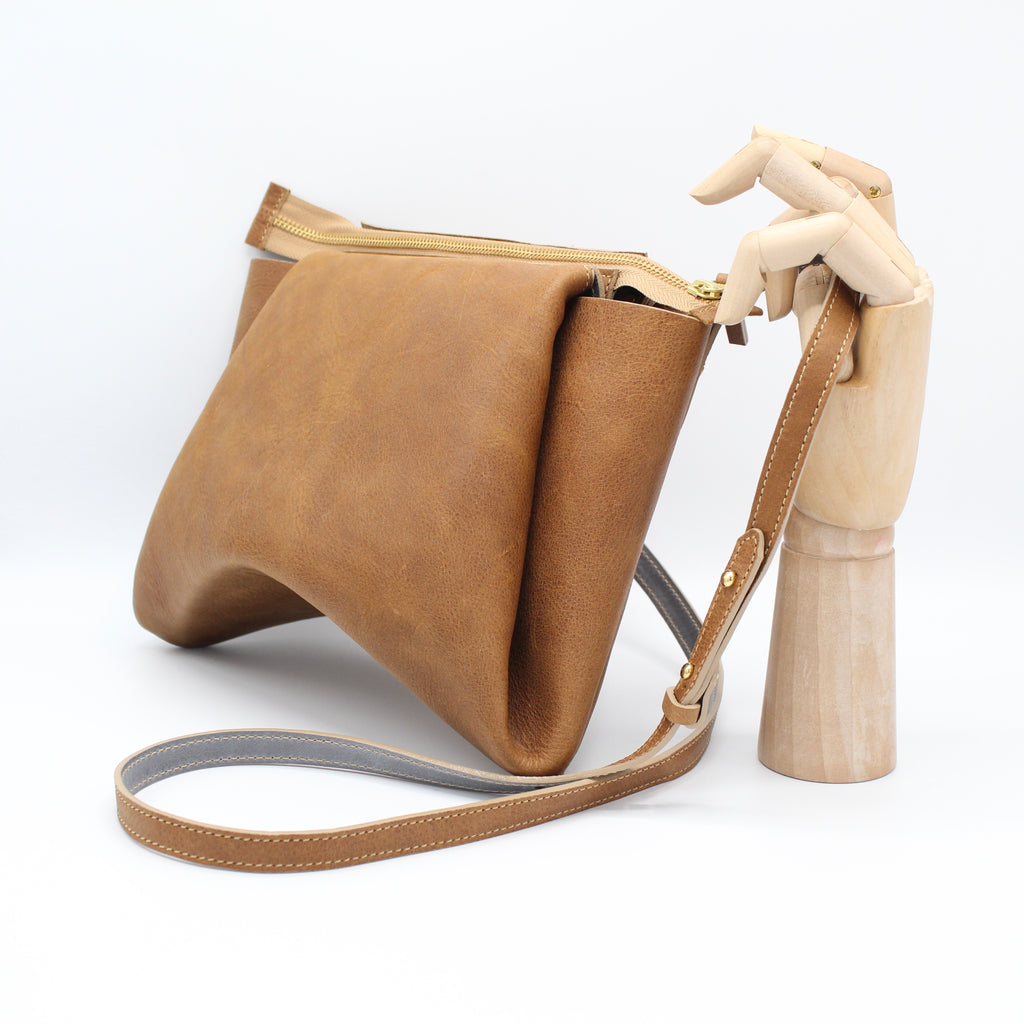 The Isa Bag. Pebbled Cappuccino /Steele. Zipper/Strap.