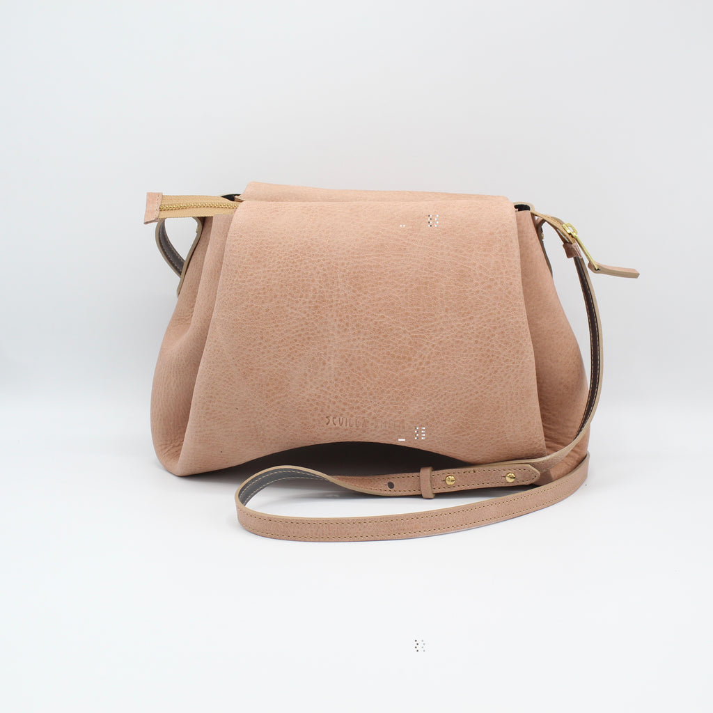 The Isa Bag.  Powdery Peony/Grey. Zipper/Strap. Large.