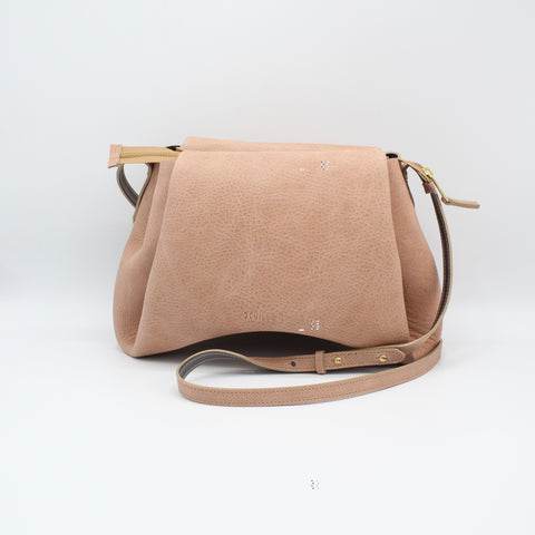 The Isa Bag.  Powdery Peony /Grey. Zipper/Strap. Large.