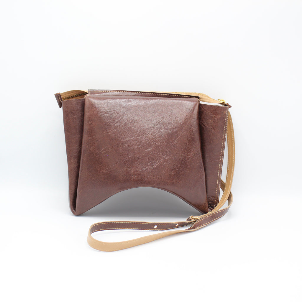 The Isa Bag.  Walnut Gloveskin/Buff. Zipper/Strap. Stitched.