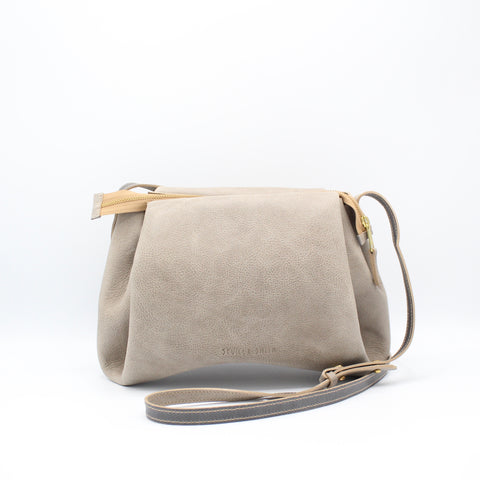 The Isa Bag.  Powdery Soft Grey /Grey. Zipper/Strap. Large.
