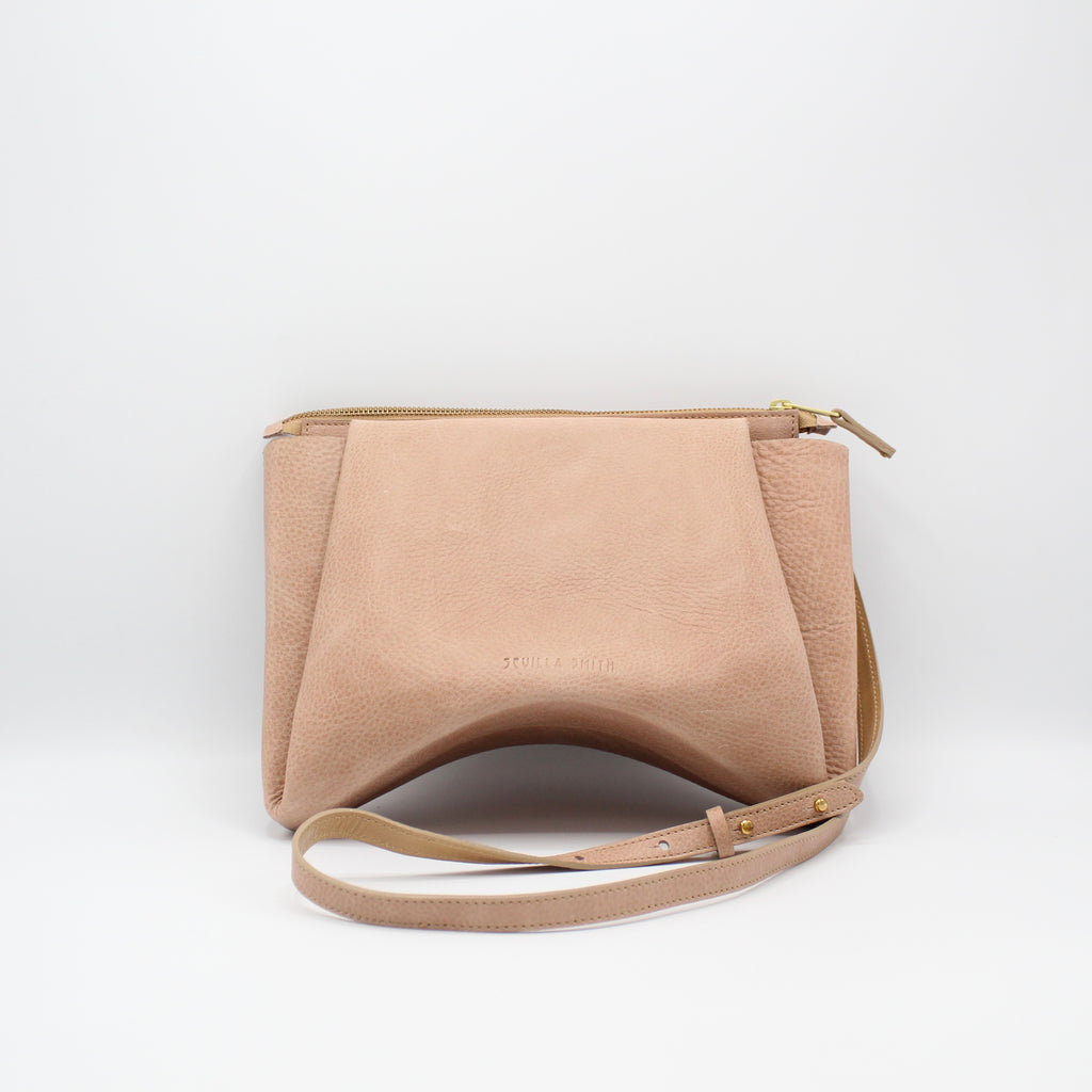 The Isa Bag. Powder Peony/Buff. Zipper/Strap. Stitched.