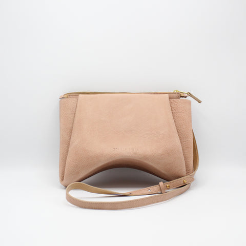 The Isa Bag. Powder Peony /Buff. Zipper/Strap. Stitched.