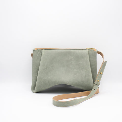 The Isa Bag. Powdery Sage /Buff. Zipper/Strap.