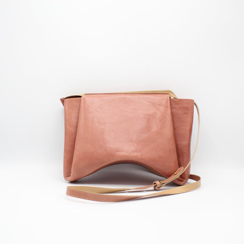 The Isa Bag. Smooth Guava /Buff. Zipper/Strap.