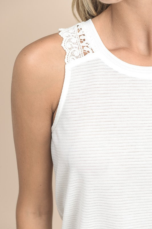 Blissful Embrace White Embellished Tank
