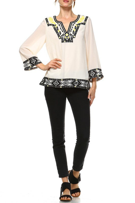 Neon Tribe Embroidered Top