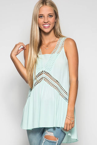 Mondays Are Mint For Me Crochet Tank
