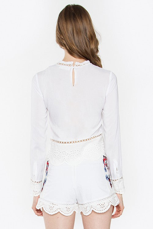 Astrid Embroidered Long Sleeve Top