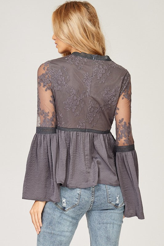 Where There's Smoke, There's Fire Lace Detail Top