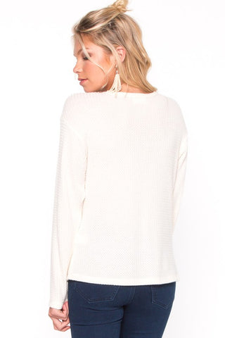 Cream and Sugar Crossover Waffle knit Top