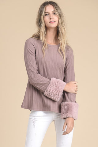 Double The Flair Fuzzy Cuff Top