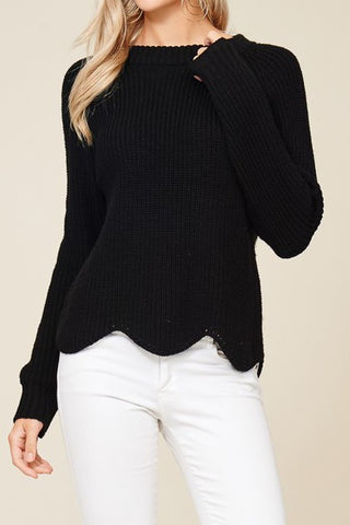 Alexa Scalloped Hem Sweater