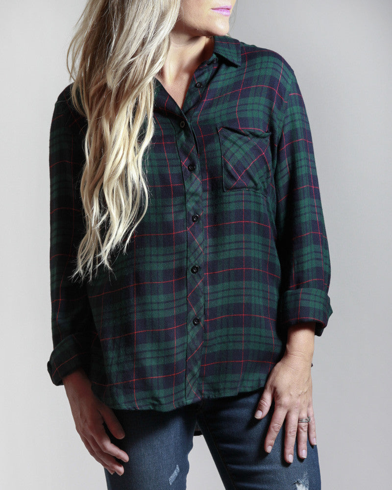 Plaid-itude Adjustment Button Down Top