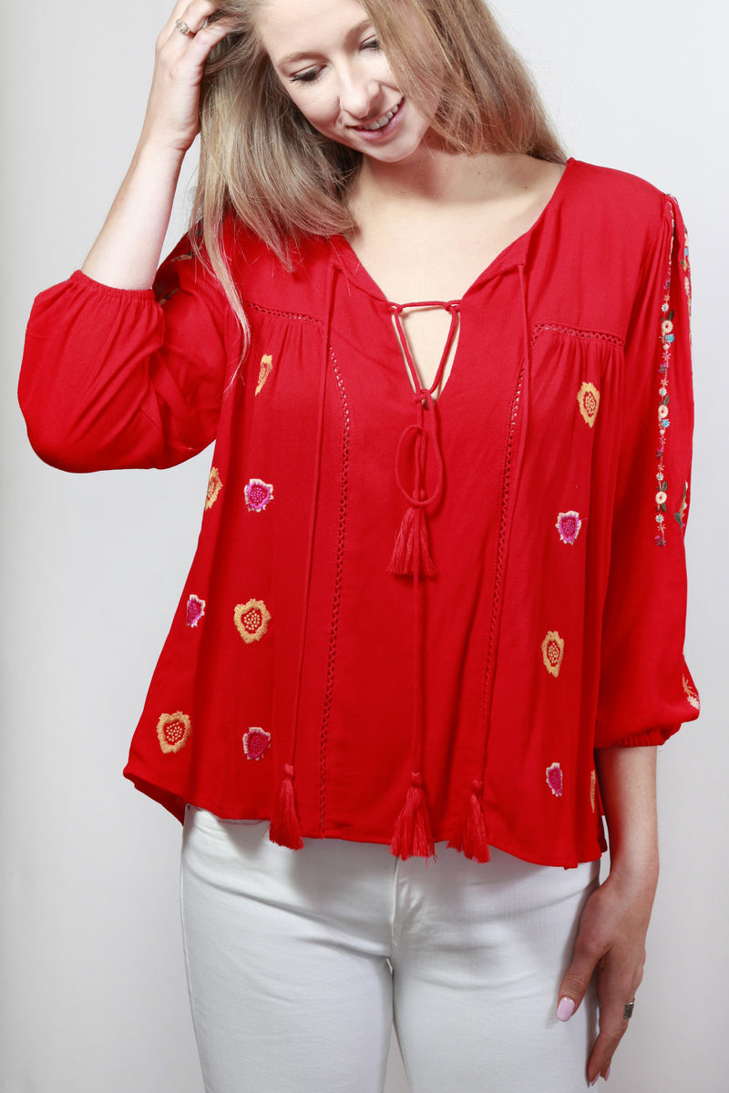 Oh My Fiesta Long Sleeve Embroidered Blouse