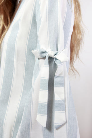 Striped on Sydney Bell Sleeve Tie Blouse