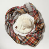 Pumpkin Spice and Everything Nice Plaid Scarf and Hat Set
