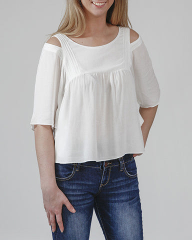 Fluttering Hearts Cutout Sleeve Top