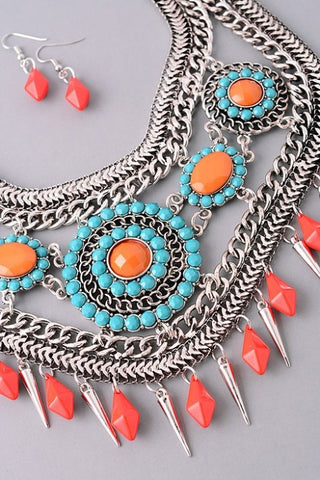 The Nancy Statement Necklace and Earring Set