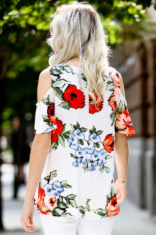 Feminine in Florals Cold Shoulder Top