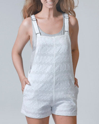 Eyelet You In My Heart Overall Shorts