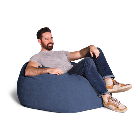 Navy Chenille Jaxx Kiss Bean Bag Chair