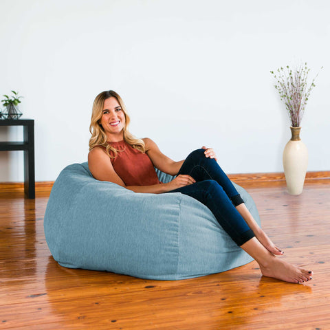 Turquoise Chenille Jaxx Kiss bean bag chair