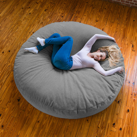 Grey Chenille 6 Foot Jaxx Cocoon Bean Bag Chair