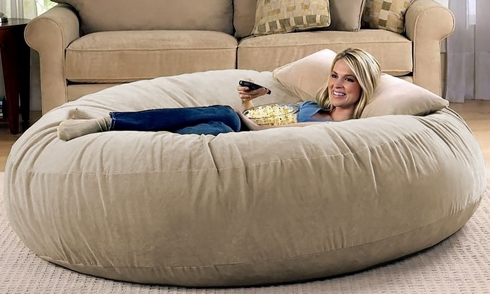 Camel Microsuede 6 Foot Jaxx Cocoon Bean Bag Chair